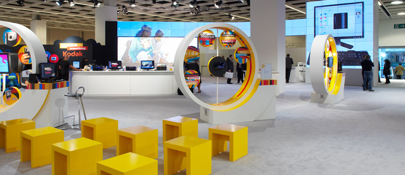 Booth environment with translucent video wall