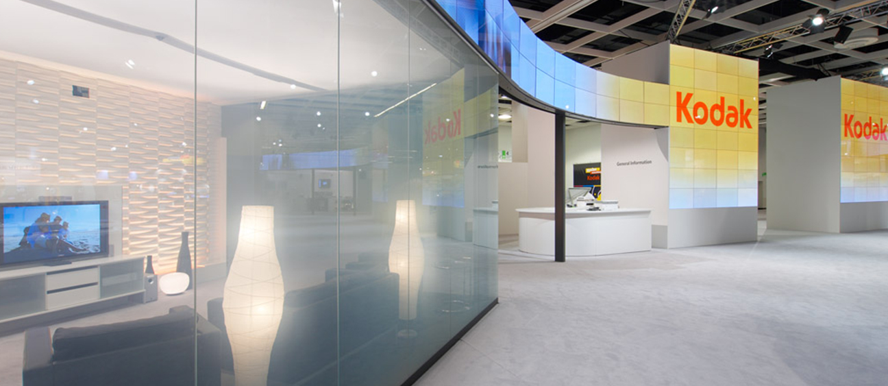 Translucent video wall revealing interior home environment